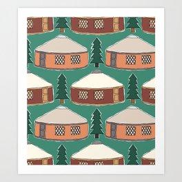 Cozy Yurts -n- Pines Art Print
