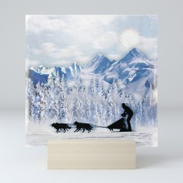 Dogsledding Mini Art Print