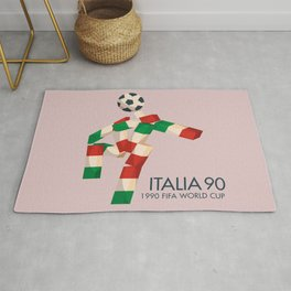 Vintage World Cup poster, Ciao, Italia 90 mascot, old football print Rug