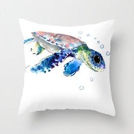 Sea Turtle Illustration Throw Pillow