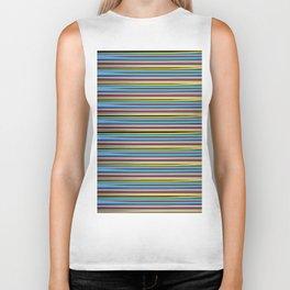 Thin Color Stripes - Black Biker Tank
