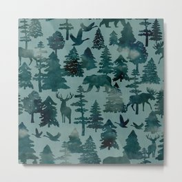 The Wild North, Wildlife, Blue Silhouette Forest and Animal Print Metal Print