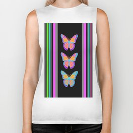 Colorful Butterflies on BlackWestern Art  Pattern Design Biker Tank