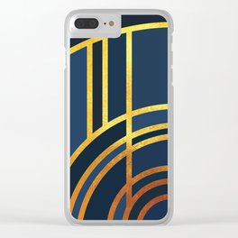 Art Deco Morning Sun In Navy Blue Clear iPhone Case