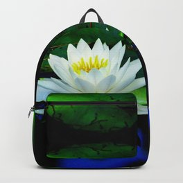 Blue water reflections- lily pad flower Backpack