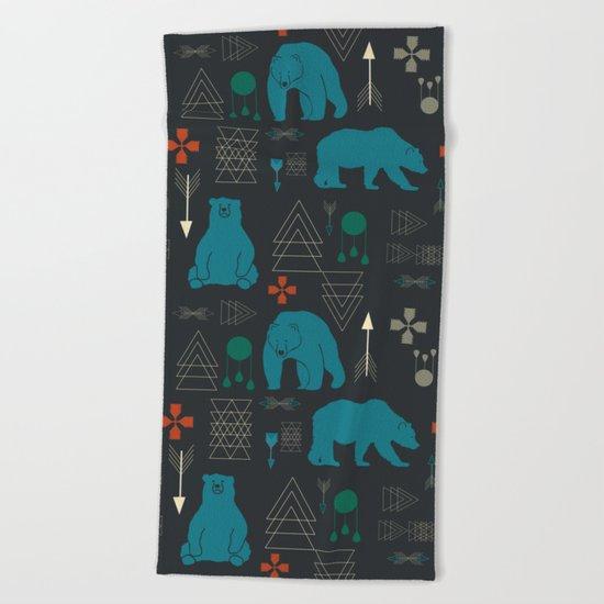Tribal Bear Beach Towel