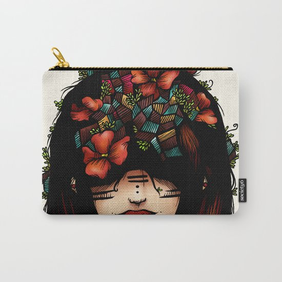 The girl who was thinking about geometry & red flowers Carry-All Pouch