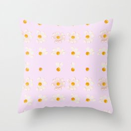 Baby Pink Daisies | Shabby Chic Golden Flower Pattern Throw Pillow