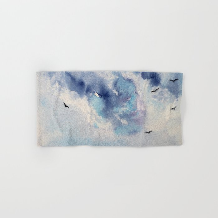 Dramatic sky    watercolor Hand & Bath Towel