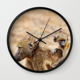 Cute monkey baby and mother Wall Clock