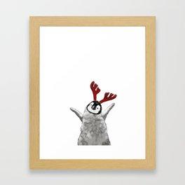 Christmas Baby Penguin Reindeer Framed Art Print