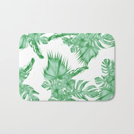 Palm Leaves and Hibiscus Tropical Green Bath Mat