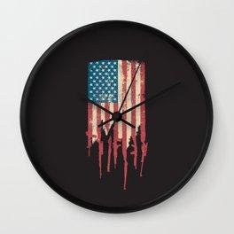 Distressed United States of America USA Flag Grunge Guns Wall Clock