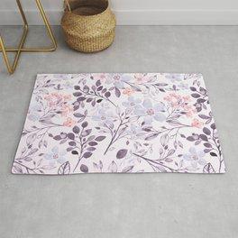 Hand painted modern pink lavender watercolor floral Rug