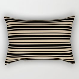Tan Brown and Black Horizontal Var Size Stripes Rectangular Pillow