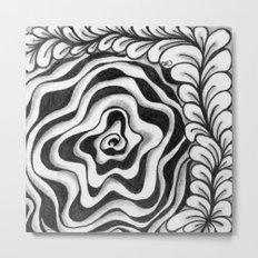 Doodled Rose & Vine Metal Print