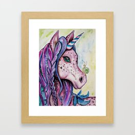 Pink Unicorn - Watercolor/inks by: Dominique Lacroix Framed Art Print