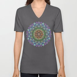 Rainbow Dot Mandala Unisex V-Neck