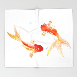 Goldfish, Two Koi Fish Throw Blanket