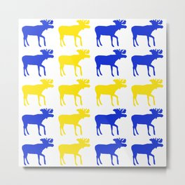 Graphic Swedish Moose Flag I Metal Print