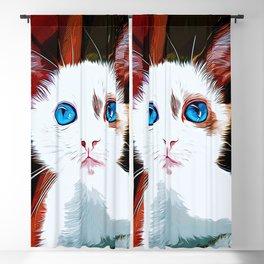 cute cat blue eyes vector art Blackout Curtain