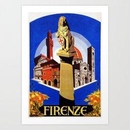 Florence Firenze travel, lion statue Art Print