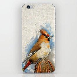 Watercolor Bird - Bohemian waxwing(Bombycilla garrulus) iPhone Skin