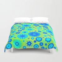hippy Duvet Covers featuring Turquoise Hippy Flower Pattern by Hippy Gift Shop