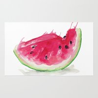 watermelon Area & Throw Rugs featuring Watermelon by Bridget Davidson