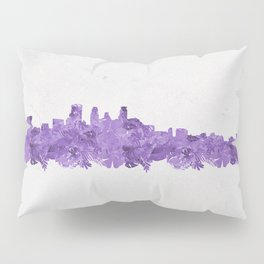 Minnepolis Minnesota Skyline Florals Purple Pillow Sham
