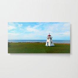 Long Bridge and Tiny Lighthouse Metal Print