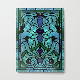 Aqua Green and Blue Art Nouveau Stained Glass Design Metal Print