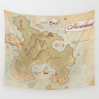 neverland Wall Tapestries featuring Map of Neverland by Kaz Palladino