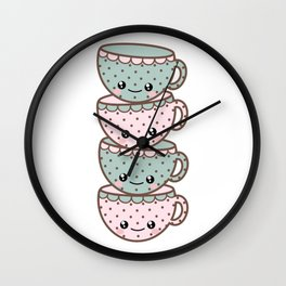 Stack of Tea Cups Wall Clock