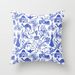 Arabian Nights // China Blue Throw Pillow