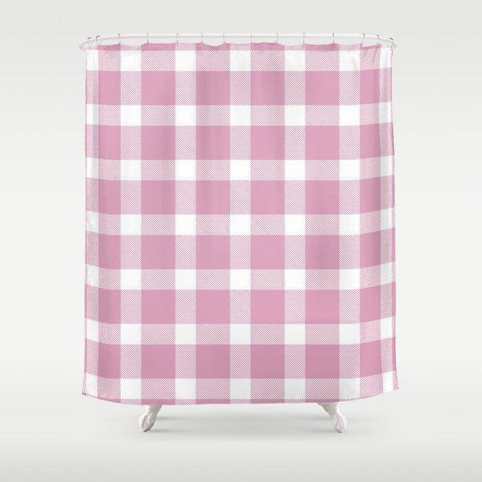 Plaid Bubble Gum Pink Shower Curtain