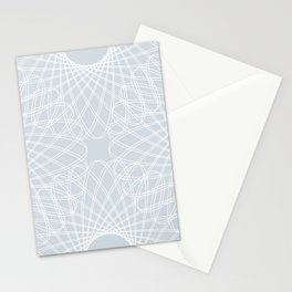 spirograph inspired pattern in white and a pale icy gray Stationery Cards