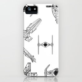 Starwars space ship pattern. Tie fighters, B-Wing, Ghost, Rebel Transport, Imperial Landing Craft iPhone Case