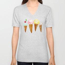 Ice Creams, Watercolor Ice Creams Unisex V-Neck