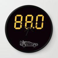 delorean Wall Clocks featuring DeLorean by Adikt