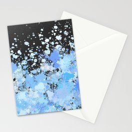 Paint Splatters Blue Black Texture Pattern Stationery Cards