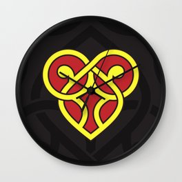Celtic Heart Design - Red and Yellow Wall Clock