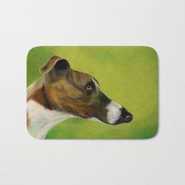 Brindle and white greyhound (a343) Bath Mat