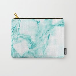 Teal Mermaid Glitter Marble Carry-All Pouch