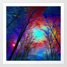 Lights over the Forest Art Print