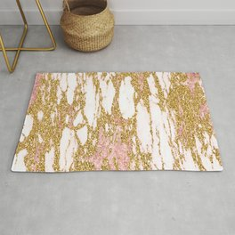Gold Marble - Intense Glittery Yellow and Rose Gold Marble Rug