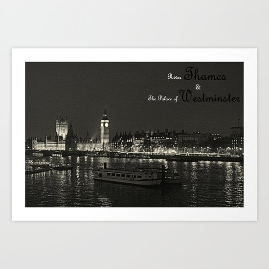 River Thames and Palace of Westminster - Black and White Art Print