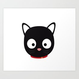 Cute black cat with red collar Art Print