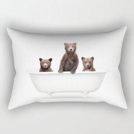 3 Little Bears in a Vintage Bathtub (c) Rectangular Pillow