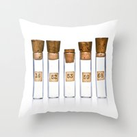 lab Throw Pillows featuring Lab Vials by THEPALMER